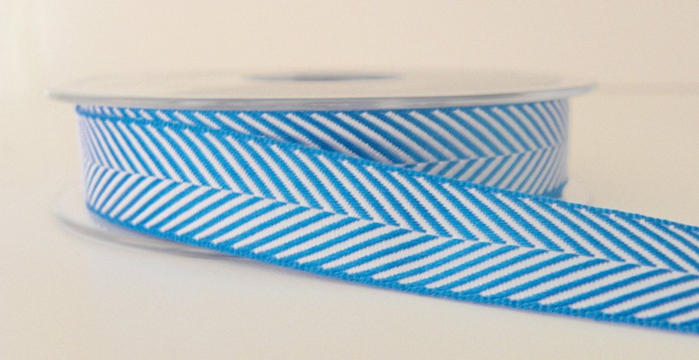 16mm Herringbone Ribbon - Sapphire