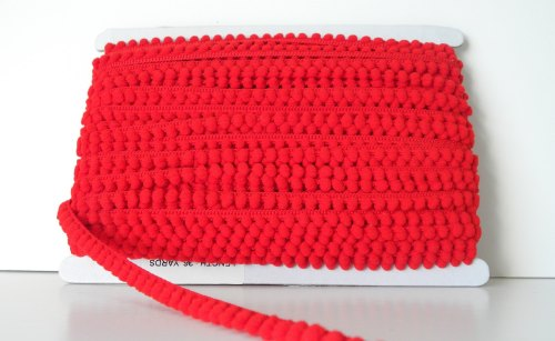 9mm Baby Pom Pom Trim - Red