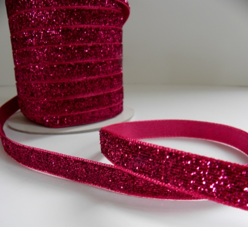 10mm Glitter Velvet Ribbon - Hot Pink
