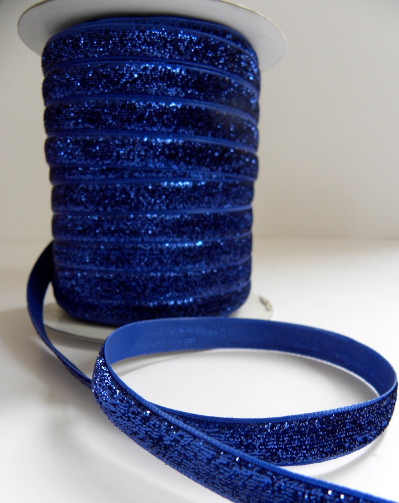 10mm Glitter Velvet Ribbon - Dark Blue