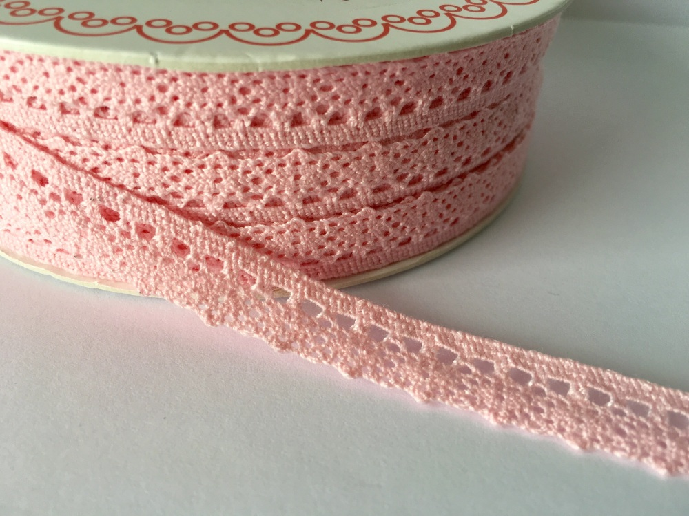 Scalloped Edge Lace Trim 10mm - Baby Pink