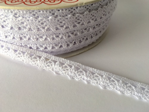 Scalloped Edge Lace Trim 10mm - White