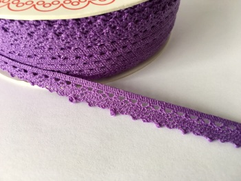 Scalloped Edge Lace Trim 10mm - Purple