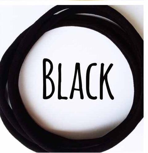 5 x Black Nylon Headbands