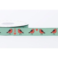 19mm Grosgrain Robins in Love - Green