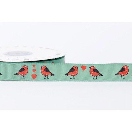 19mm Grosgrain Robins in Love - Green