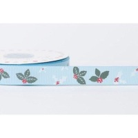 19mm Grosgrain Leaves and Holly - Blue
