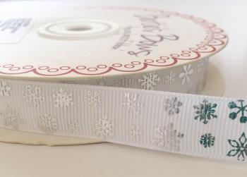 16mm Grosgrain Silver Snowflake