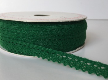 Scalloped Edge Lace Trim 10mm - Christmas Green