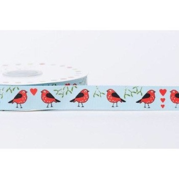 19mm Grosgrain Robins in Love - Blue