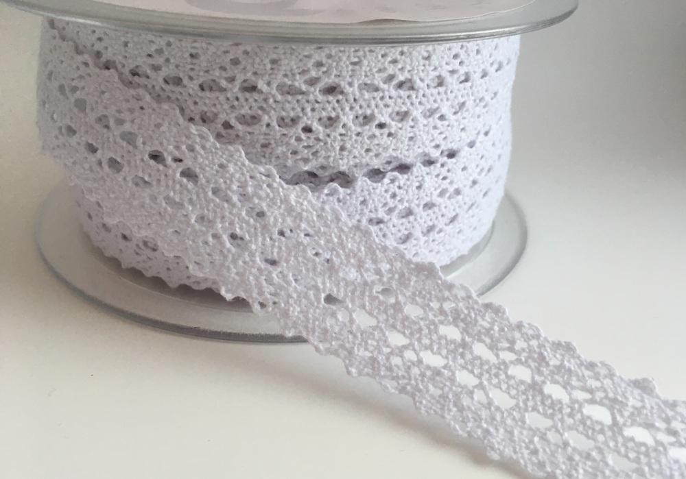 Double Edged Crotchet Cotton Lace 25mm - White