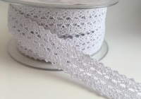 Double Edged Crotchet Cotton Lace 25mm - White