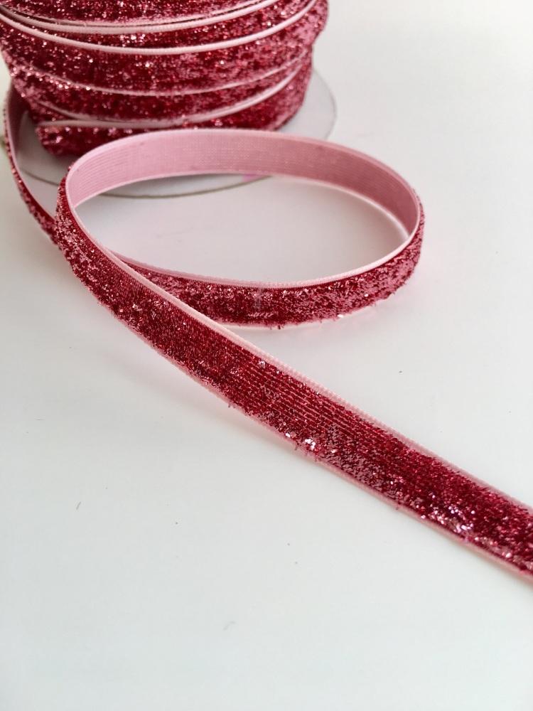 10mm Glitter Velvet Ribbon - Blush Pink