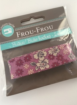 Frou Frou Bias Binding Fleuri 1 Rose des Indes