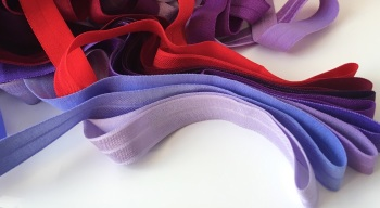 "15mm 5/8"" Fold Over Elastic - Reds and Purples"