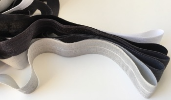 "15mm 5/8"" Fold Over Elastic - Monocrome"