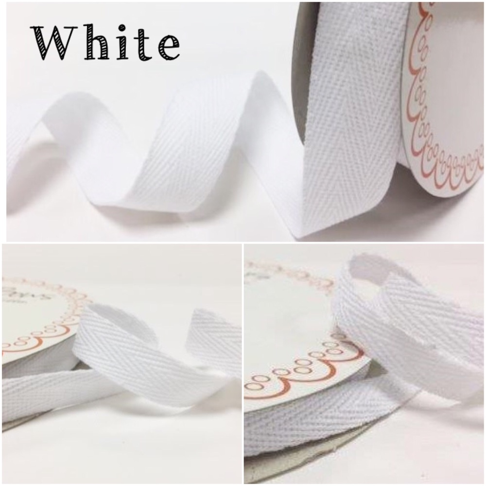 White Cotton Herringbone Twill - 3 Widths