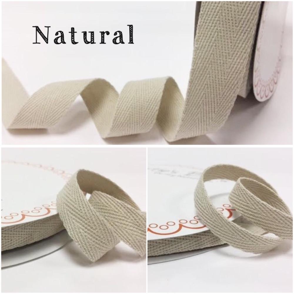 Natural Cotton Herringbone Twill - 3 Widths