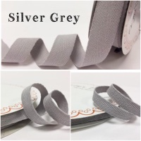 Silver Grey Cotton Herringbone Twill - 3 Widths