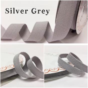 Silver Grey Cotton Herringbone Twill - 3 Widths