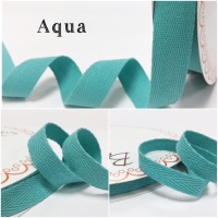 Aqua Cotton Herringbone Twill - 3 Widths