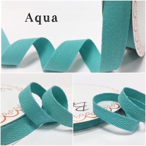 Aqua Cotton Herringbone Twill - 3 Widths