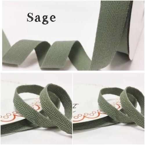 Sage Cotton Herringbone Twill - 3 Widths