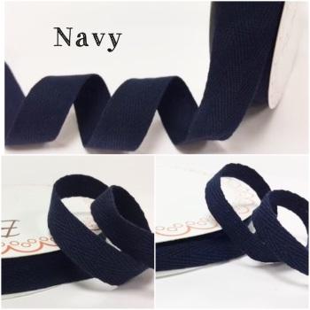 Navy Cotton Herringbone Twill - 3 Widths