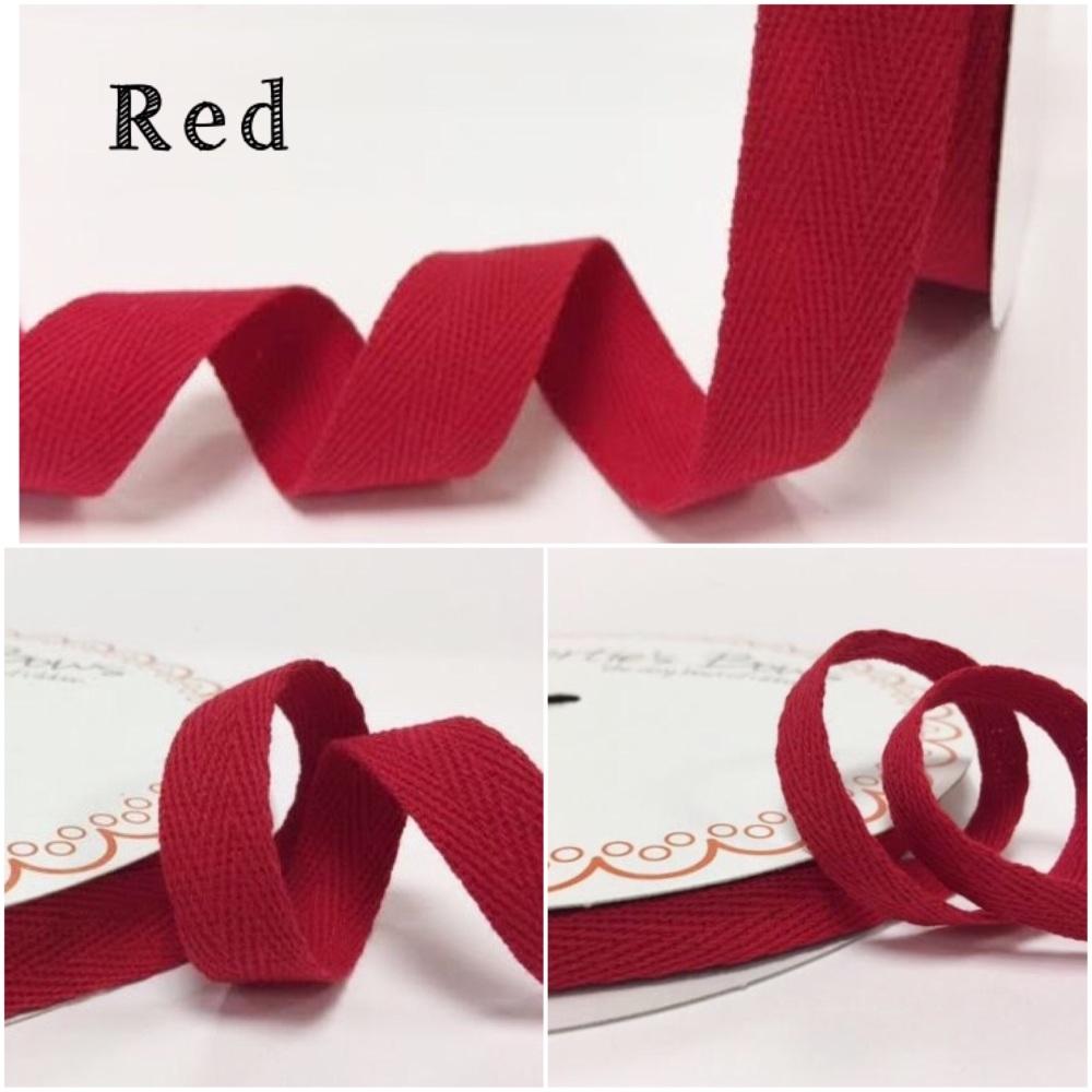 Red Cotton Herringbone Twill - 3 Widths