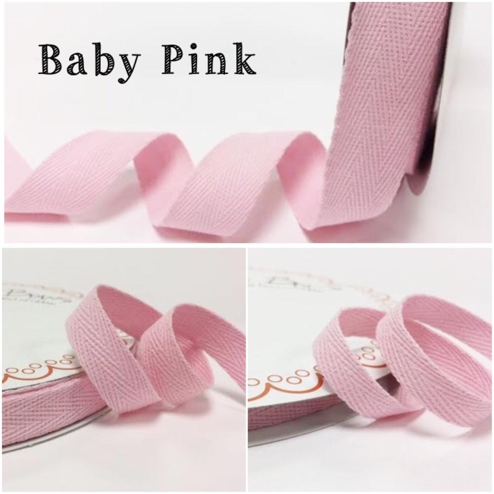 Baby Pink Cotton Herringbone Twill - 3 Widths