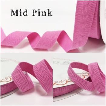 Mid Pink Cotton Herringbone Twill - 3 Widths