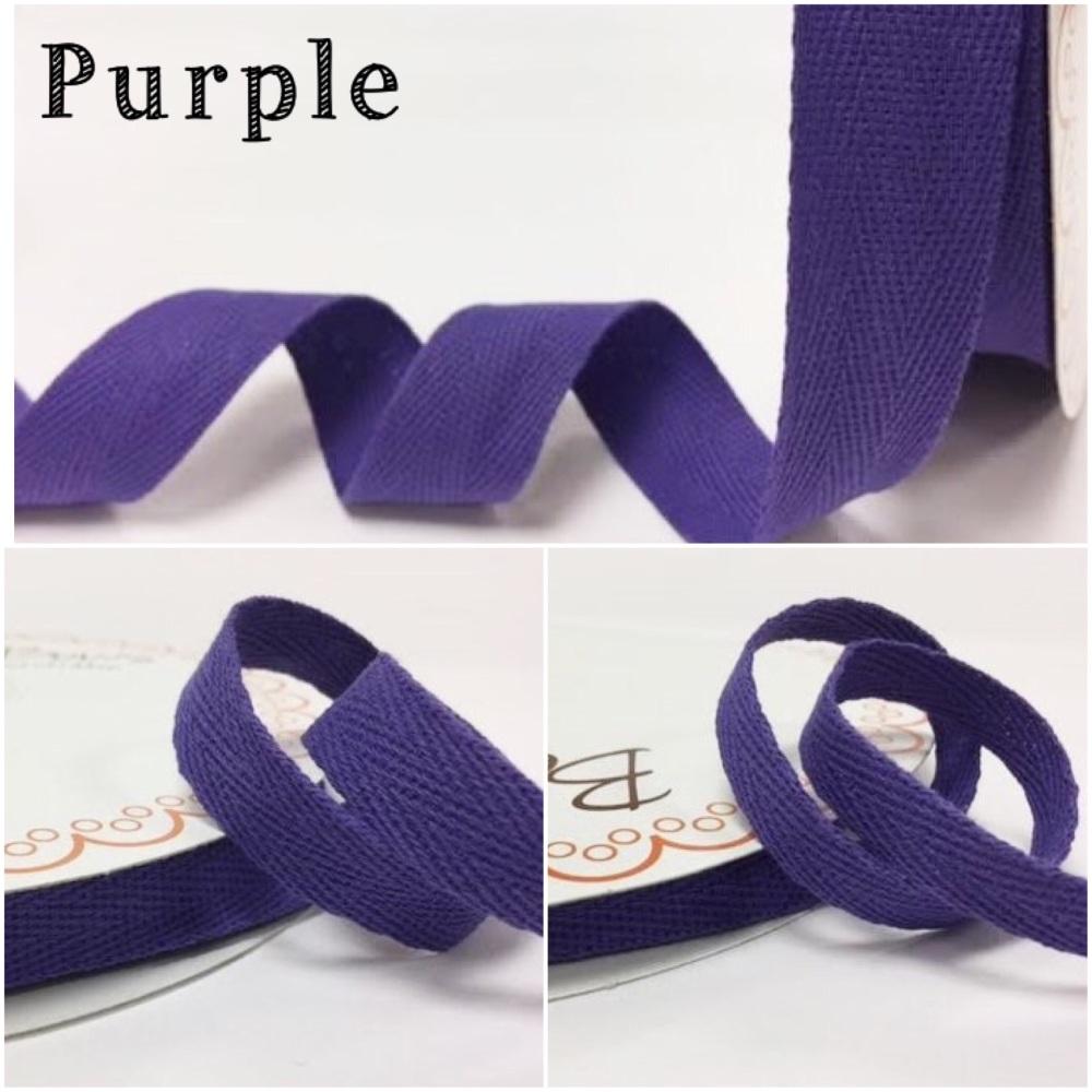 Purple Cotton Herringbone Twill - 3 Widths
