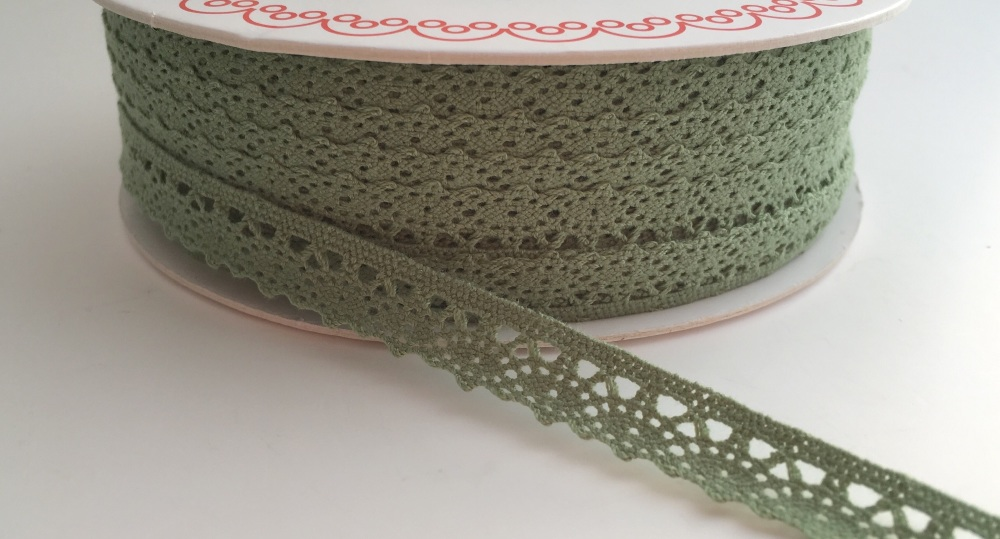 Scalloped Edge Lace Trim 10mm - Soft Green