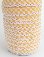 Yellow 12mm Pre-Folded Gingham Bias Binding with Lace Edge