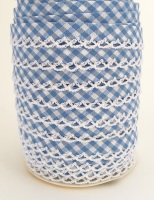 Baby Blue 12mm Pre-Folded Gingham Bias Binding with Lace Edge