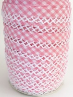 Baby Pink 12mm Pre-Folded Gingham Bias Binding with Lace Edge