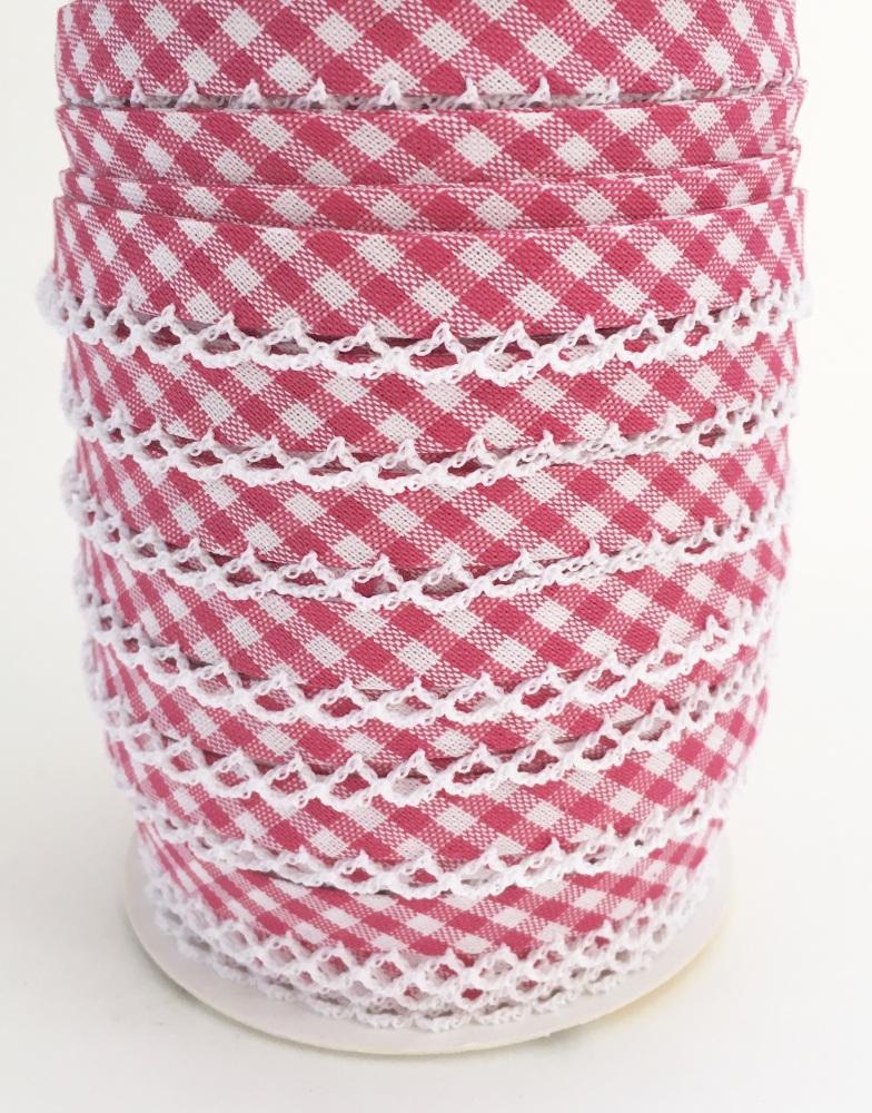 Fuchisa Pre-Folded Gingham Bias Binding with Lace Edge