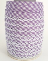 Lilac 12mm Pre-Folded Gingham Bias Binding with Lace Edge