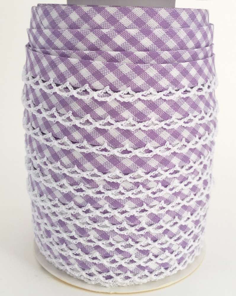 Lilac Pre-Folded Gingham Bias Binding with Lace Edge