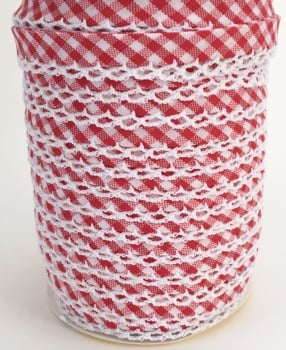Red 12mm Pre-Folded Gingham Bias Binding with Lace Edge