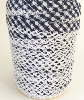 Navy 12mm Pre-Folded Gingham Bias Binding with Lace Edge