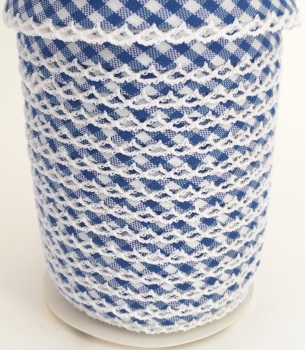 Royal Blue 12mm Pre-Folded Gingham Bias Binding with Lace Edge