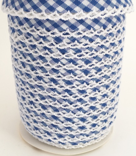 Royal Blue Pre-Folded Gingham Bias Binding with Lace Edge