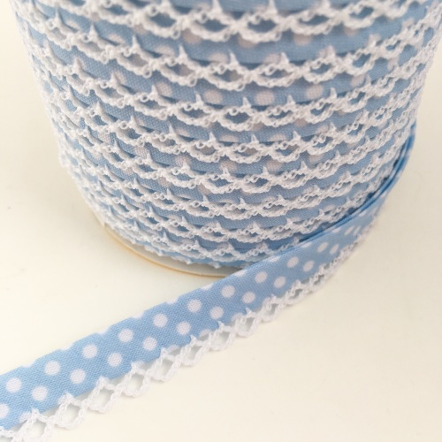 Baby Blue 12mm Pre-Folded Polka Dot Bias Binding with Lace Edge