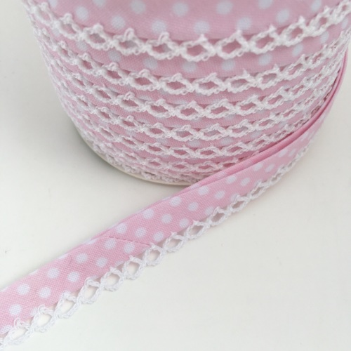 Baby Pink 12mm Pre-Folded Polka Dot Bias Binding with Lace Edge