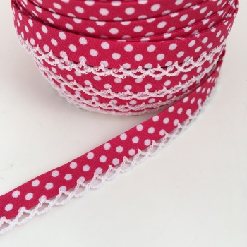 Bright Pink 12mm Pre-Folded Polka Dot Bias Binding with Lace Edge