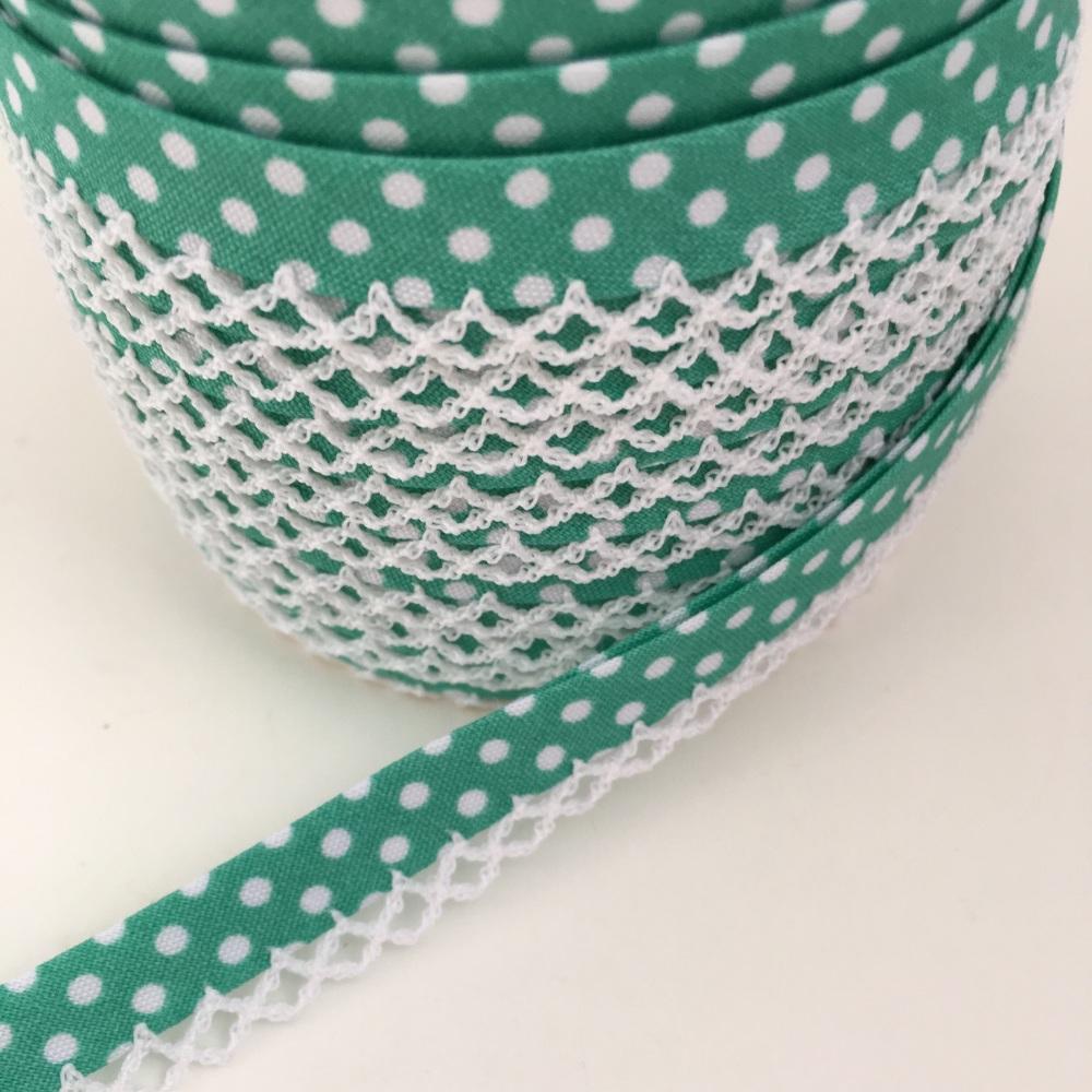 Seafoam Green 12mm Pre-Folded Polka Dot Bias Binding with Lace Edge