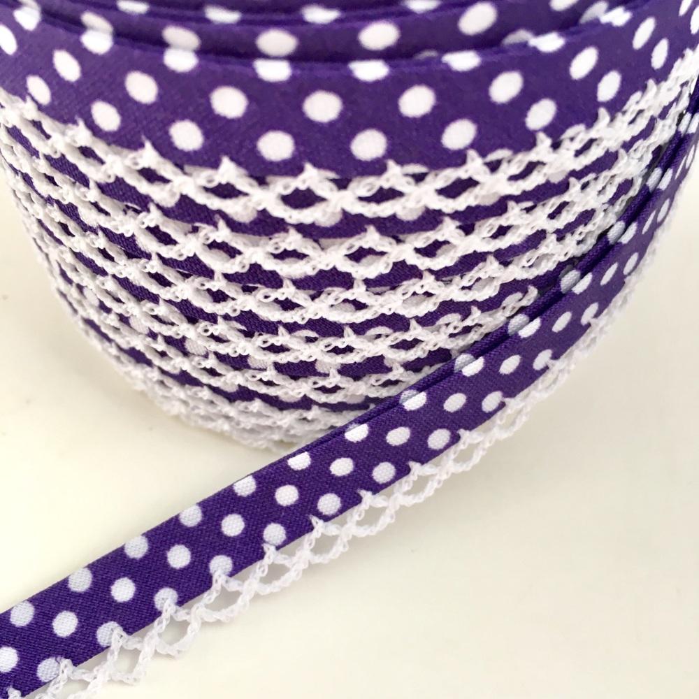 Purple 12mm Pre-Folded Polka Dot Bias Binding with Lace Edge