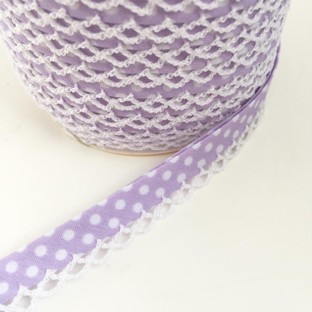 Lilac 12mm Pre-Folded Polka Dot Bias Binding with Lace Edge