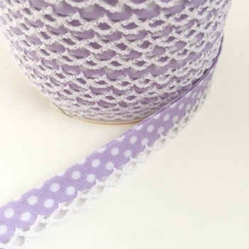 Lilac 12mm Pre-Folded Polka Dot Bias Binding with Lace Edge